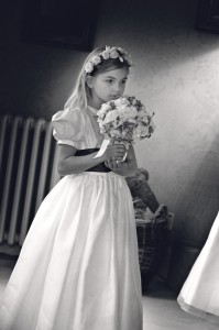 Flower Girl Contemplates her Responsibilities, English Wedding
